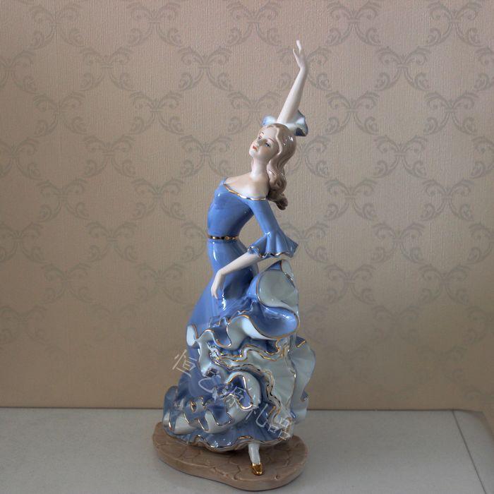 Spanish Style Porcelain Lady Flamingo Dancer Sculpture Ceramic Flamenco Decor Gift and Craft Ornament Embellishment Accessories