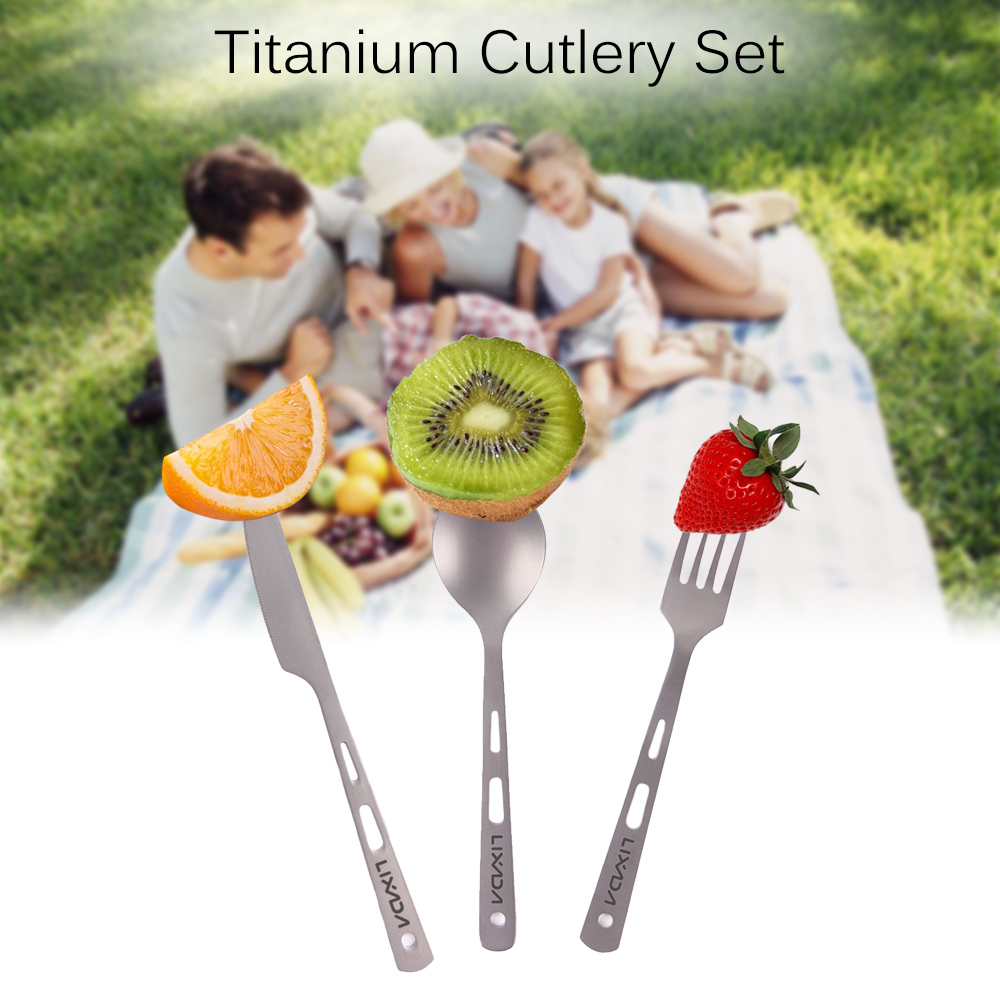 Image 5 - Lixada 3 Piece Cutlery Set Titanium Outdoor Camping Picnic Cutlery Spoon Cutter Fork with Carabiner Outdoor Tableware-in Outdoor Tablewares from Sports & Entertainment