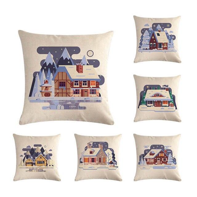 Cartoon Night Snowhouse Series Flax Pillow Cover Sofa And Auto Cushion Cover Office Cushion Home Decor