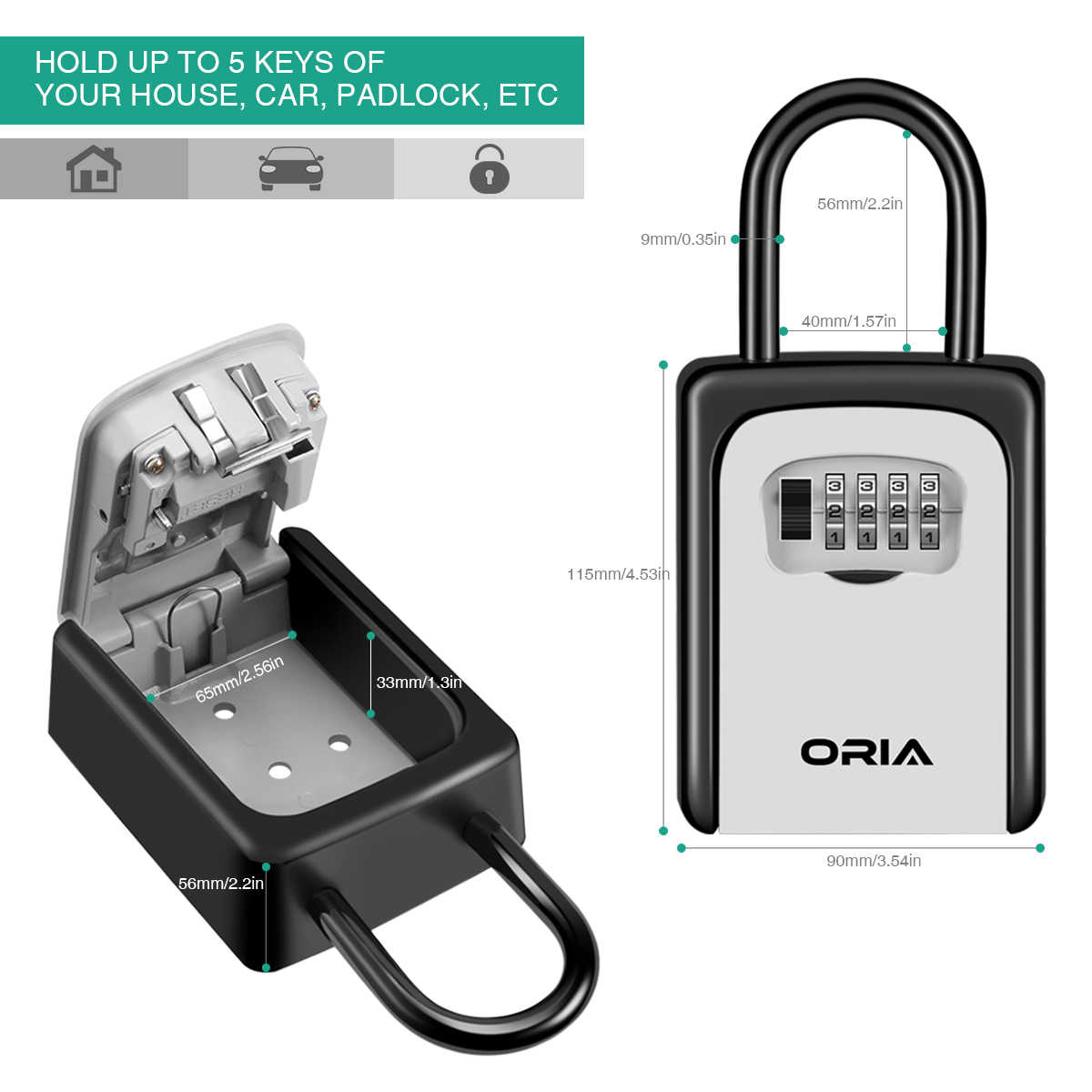 ORIA 4 Digit Key Box Safe Wall Mounted Key Safe Storage Box Lock Waterproof  with Removable Shackle Indoor Outdoor Padlock Boxes