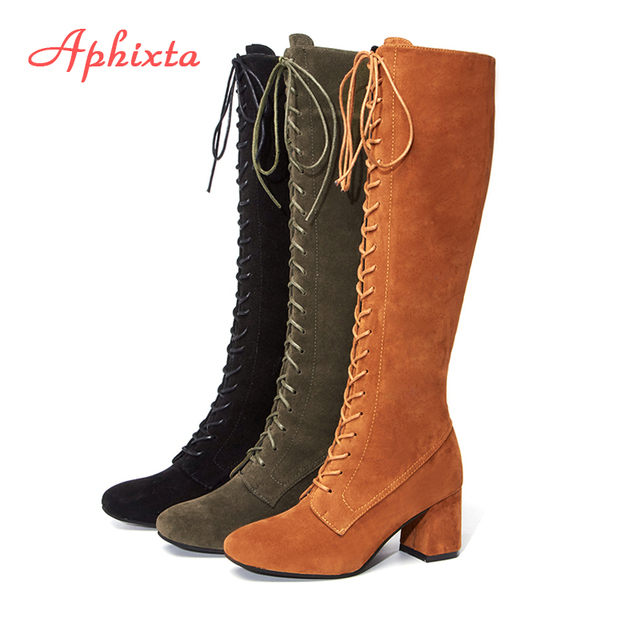 Aphixta Slim Boots Shoes Woman Sexy Lace-Up Over The Knee Thigh High Women Long Boots Short Plush Winter ladiesPlus Size 34-43