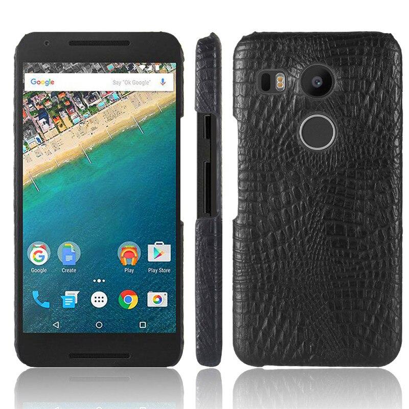 Para LG Google Nexus LG Pescador 5X Caso Crocodilo Padrão Rígido de PC com PU LEATHER Back Cover Caixa Do Telefone para LG Nexo LG 5X Pescador