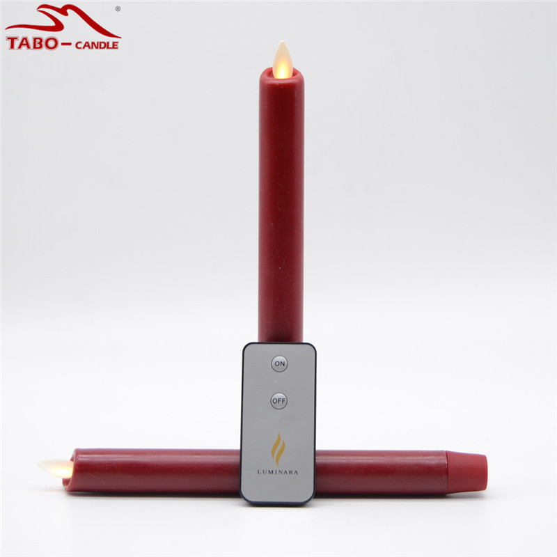 flameless taper candle with realistic moving wick made by real wax in classic burgundy color timer