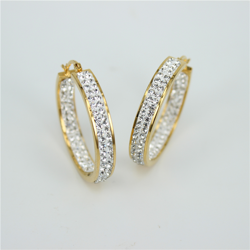 The New Stainless Steel Jewelry Classic Fashion Trend Jewelry  Gold Color Earrings Exquisite Female Earring LH136