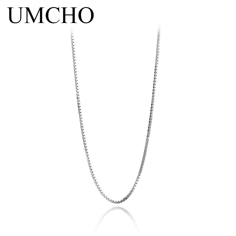 UMCHO Classic Basic Chain 100% Genuine 925 Sterling Silver Lobster Clasp Adjustable Necklace Chain Fashion Jewelry For Women
