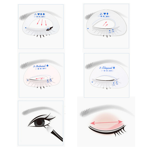 Eyes Makeup Template Card 6pcs/set Eyeshadow Stencil Cosmetic Groom Steps Model Easy Quick Make Up Shaping Guide DIY Beauty Tool 2