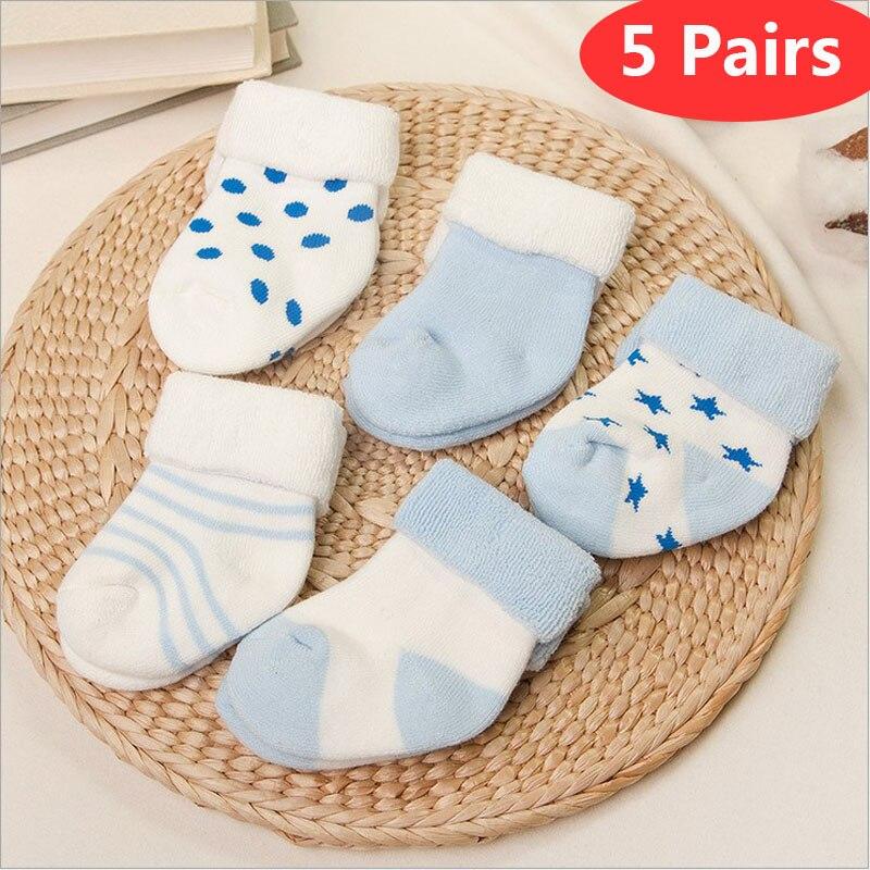 Bebê meias 5 pares recém-nascidos inverno algodão espessamento unisex meias curtas 0-6 meses infantil menina e menino meias