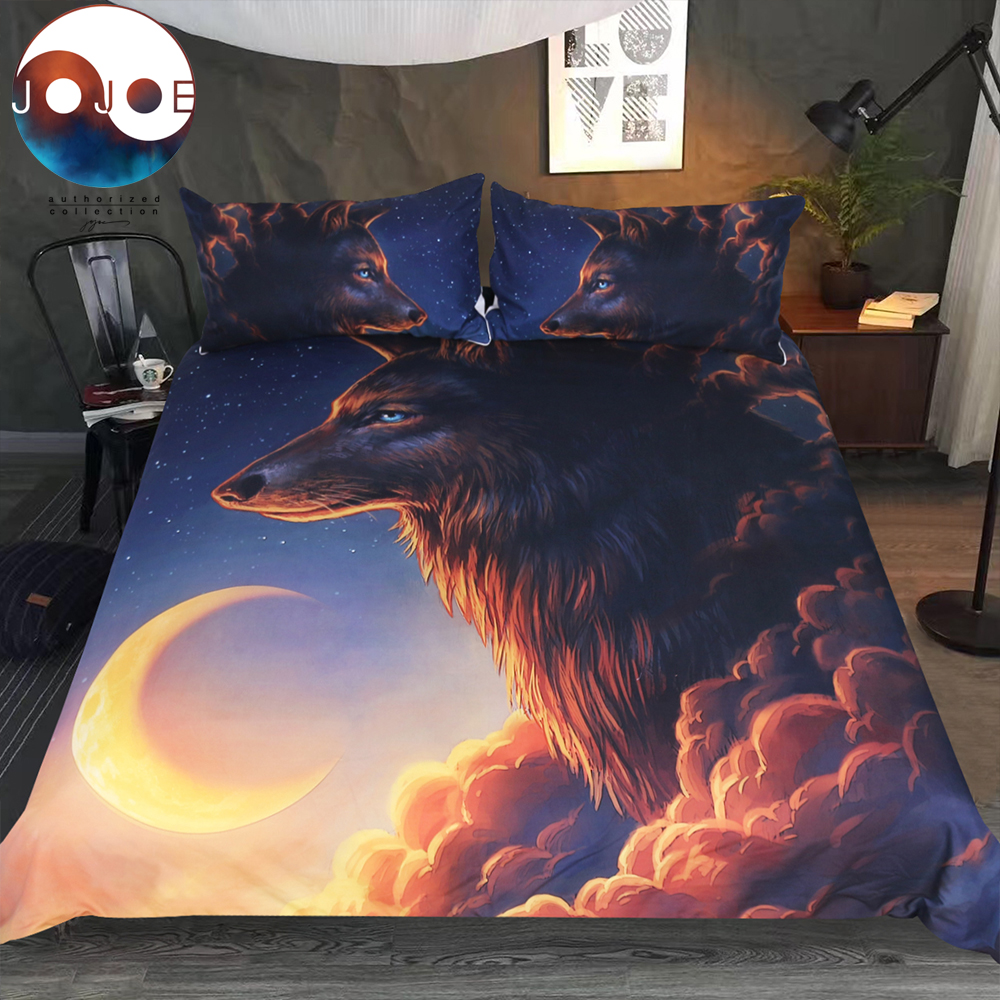 Night Guardian by JoJoesArt Bedding Set Wolf And The New Moon Duvet Cover With Pillowcases Could Bed Cover 3-Piece Bedclothes