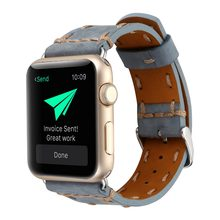 Retro Hand Sewing Band For Apple Watch 38mm 42mm 40mm 44mm Genuine Leather Strap For iWatch Band 1 2 3 4 Bracelet Watchband(China)