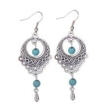 2016 New Fashion Vintage Tibetan Geometric Earrings Ethnic Hollow Tear Tassel Stone Earrings For Women Fancy Fine Jewelry
