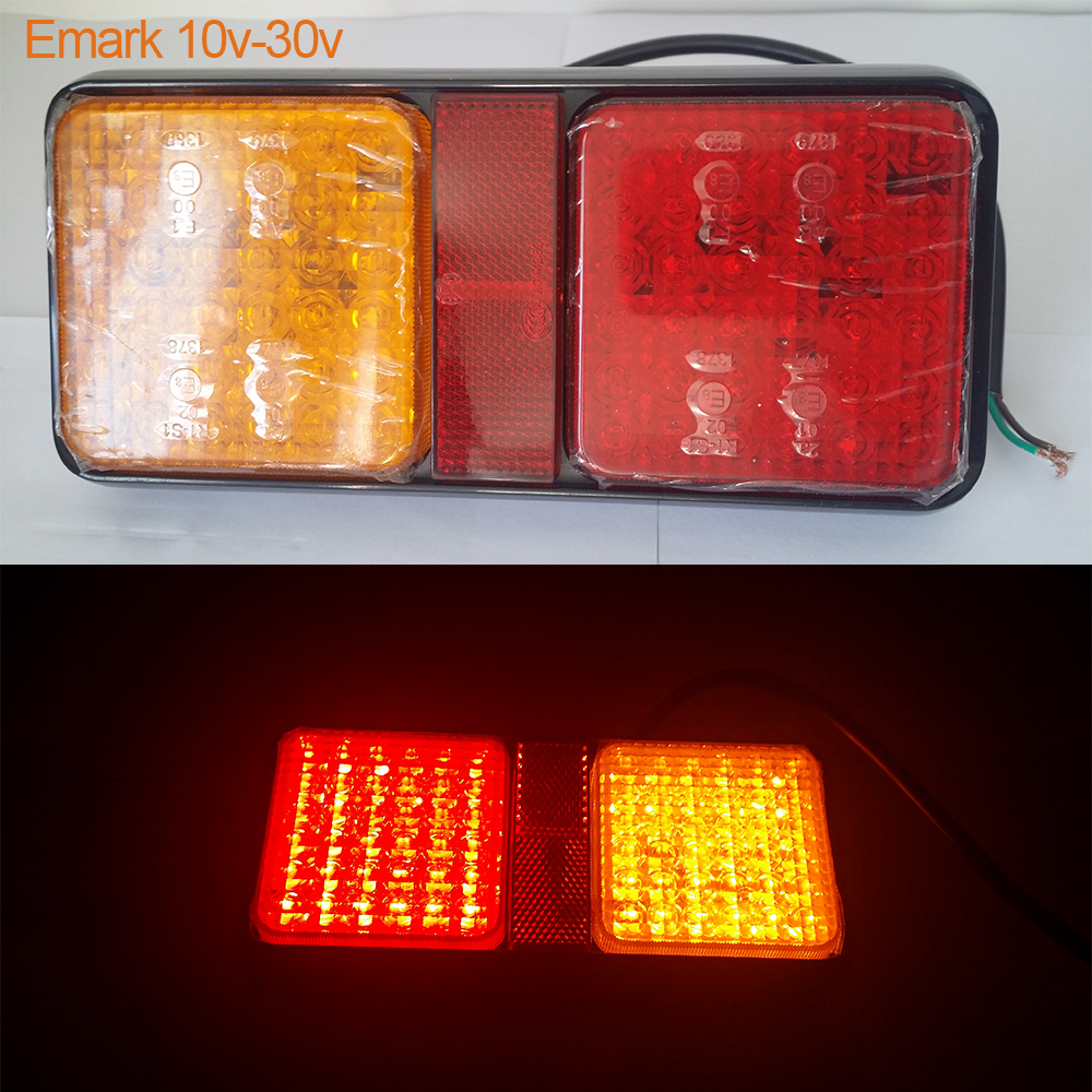 12V-30 LED Voiture feux Arrière Arrière lampe Rouge Avec Jaune pour Camion Remorque E-marque d'homologation Arrêt lampe source de lumière led indicateur