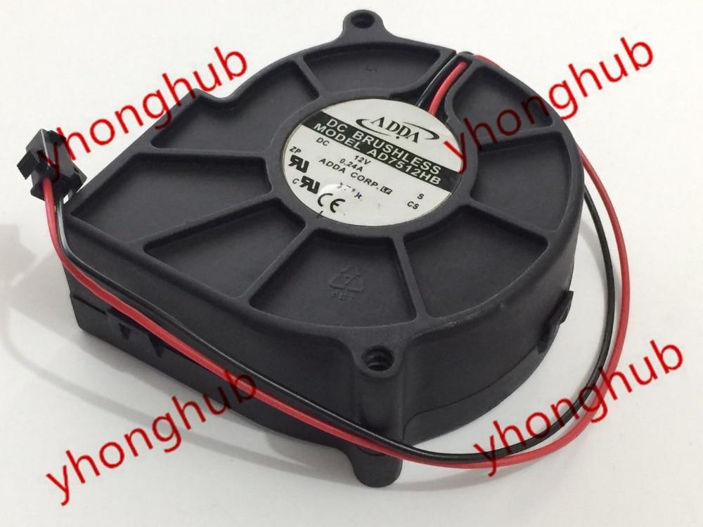 ADDA AD7512HB S DC 12V 0.24A Ventilador de servidor de 2 hilos, 75 x 75 x 30 mm