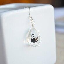 a Pair Swan Bird Animal Waterdrop Glass Double Sided 925 Sterling Silver Drop Earrings For Women Boho Fashion Jewelry Bohemian