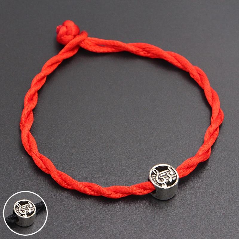 2020 New Cute Music Note Beads 4mm Red Thread String Bracelet Lucky Red Handmade Rope Charm Bracelet for Women Men Jewelry
