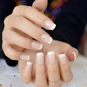 Image 3 - Nude Natural White French Fake Nails Tips Acrylic UV False Nails Press on DIY Manicure Salon Stickers Artificial Nail Tip