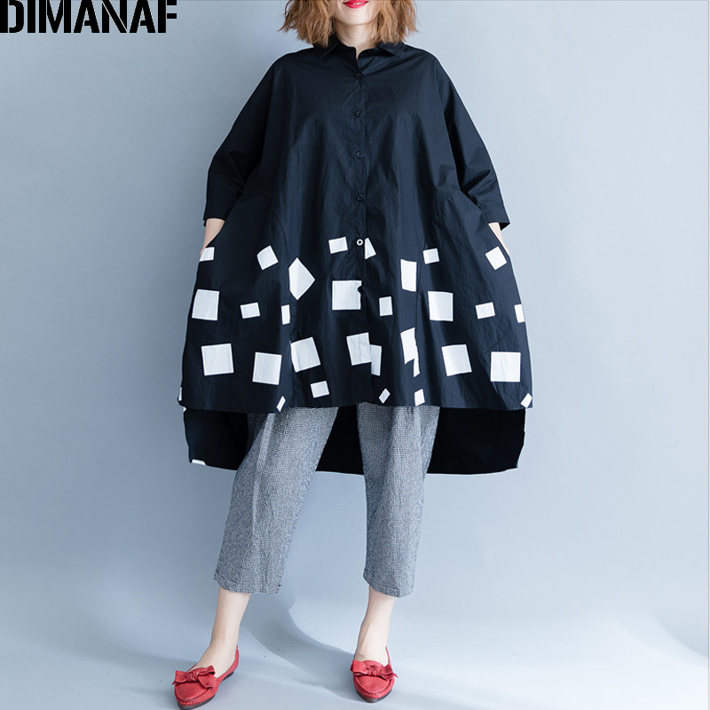 DIMANAF Women Blouse Shirts Long Sleeve Cotton Top Autumn Femme Lady Large Loose Clothing Print Spliced Pleated Plus Size Black 2