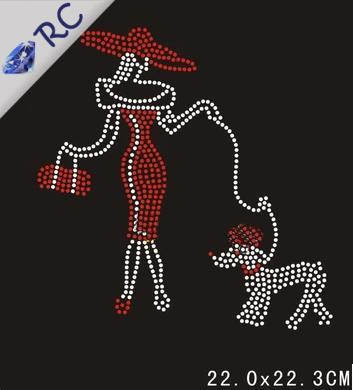 20Pcs/lot Dog Design Hot-Fix Rhinestones Iron On Heat Transfer For Textile Free Shipping 22*22.3CM rhinestone transfer