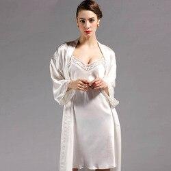 100% шелк тутового шелкопряда халат наборы для женщин модный стиль роскошный комплект из 2 предметов халаты одежда для сна платье натуральный...
