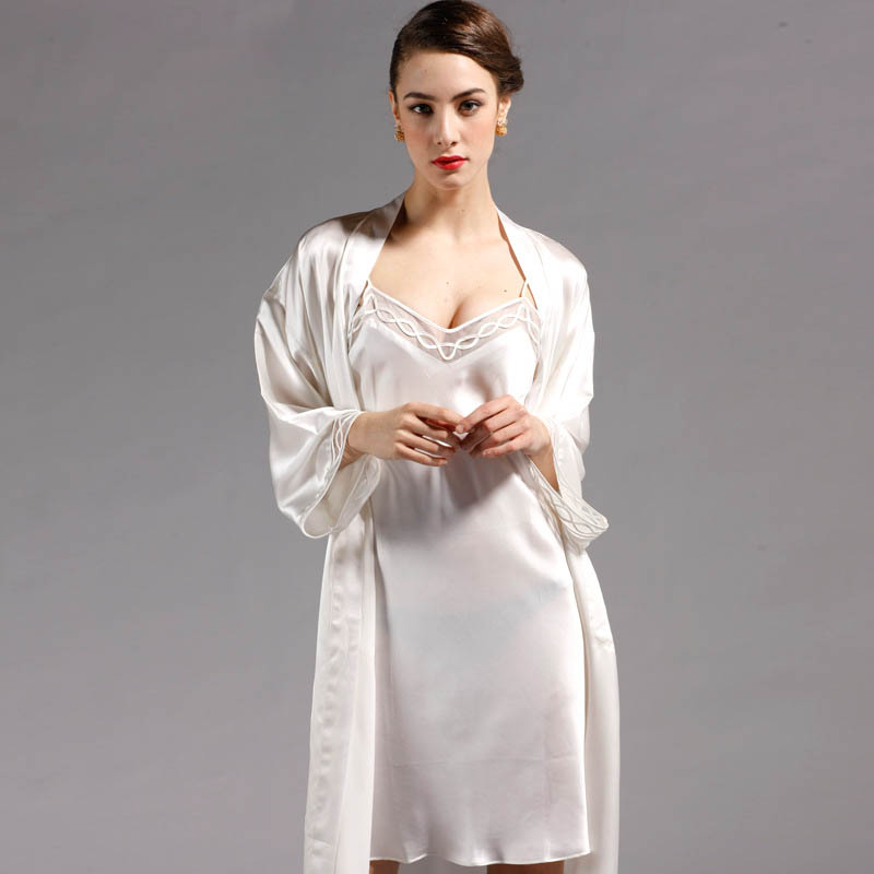 100% Mulberry Silk Robe Sets Women Fashion Style Luxury 2 Pcs Set Robes  Sleepwear Dress Real Silk Bathrobes Bathrobe Loungewear
