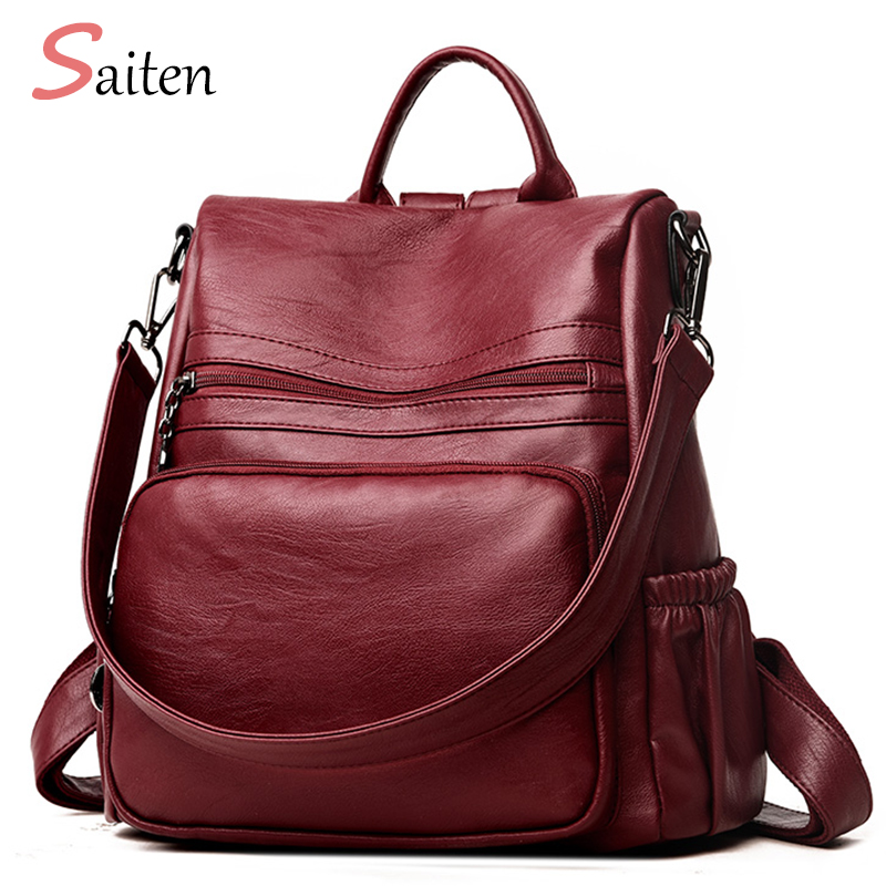 Saiten 2018 New PU Leather Women Backpack Zipper School Backpack For Teenager Girl Large Capacity Multifunction Backpack Mochil