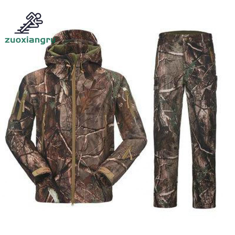Camouflage Hunting Clothes Shark Skin Soft Shell Lurkers Tad V Outdoor Tactical Military Fleece Jacket+ Uniform Pants Suits цены онлайн