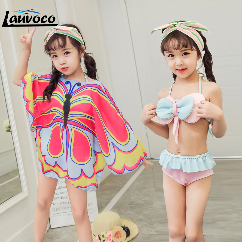 Butterfly Print Girls Bikini Set Swimwear Two Pieces Swimsuit Cover-up Infantile Summer Kids Baby Girl Big Size 3XL Bathing Suit