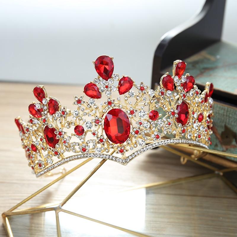 Baroque Vintage Gold Red Green Crystal Bridal Tiaras Crown Rhinestone Pageant Prom Crown Bride Headband Wedding Hair Accessories
