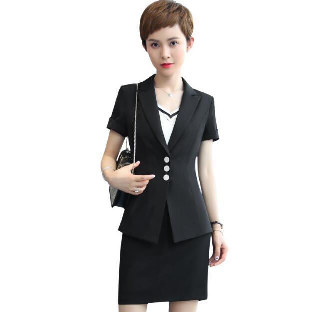 2019 Neuestes Design 2018 Neue Sommer Frauen Rock-klagen Set Elegante Business Formal Kurzarm Weiß Schwarz Büro Damen Plus Größe Der Arbeit Uniformen
