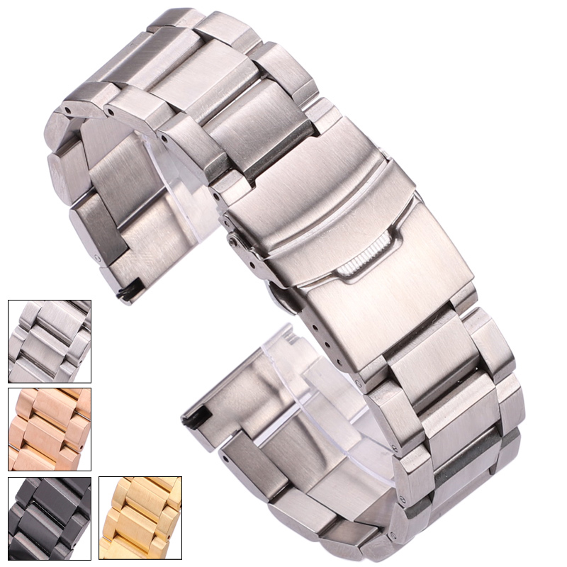 Black Stainless Steel Watchbands Bracelet 18mm 20mm 22mm 24mm Solid Metal Watch Band Men Strap Accessories silver black metal watch band bracelet 18mm 20mm 22mm 24mm men watch strap 316l solid stainless steel straight end watchbands