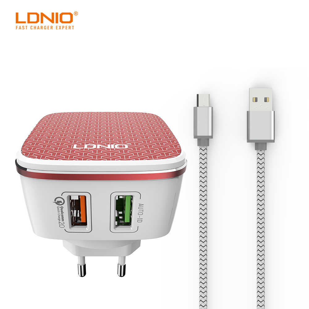 LDNIO Dual USB Port Red home charger With one Universal Port and QC 2.0 port US PLUG and Android Data Cable For Mobile Phone