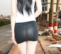 PU Imitation Leather Sexy Mini Skirt See Through Hip Super Mini Dress Stretch Ultra-thin Sexy Skirt Nightclub Wear