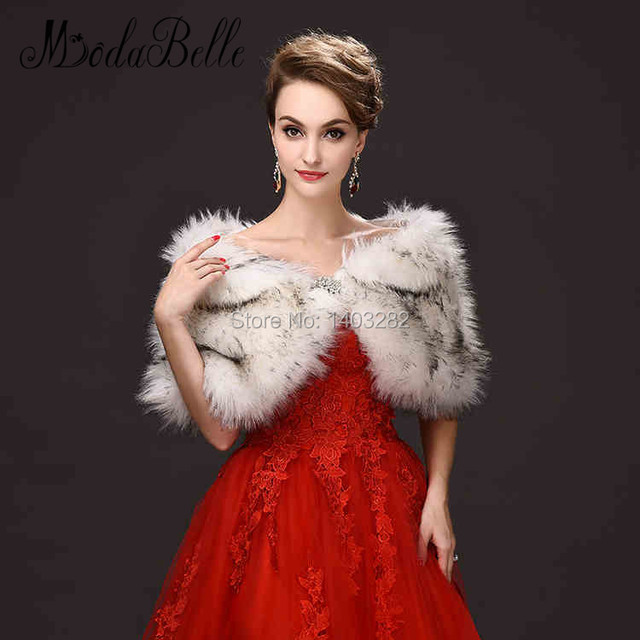 2017 Nobby Jaquetas Xale Envoltório de Casamento Bolero Nupcial Do Casamento Do Inverno da Pele Das Mulheres Vestidos de Festa À Noite Acessórios Faux Capes Xale