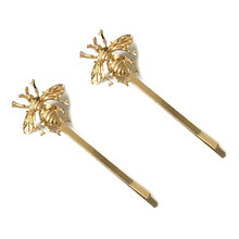 HTHL-2pcs Girls Style Gold Bee Exquisite Hairpin hairclip Side clip Hair Accessories(China)