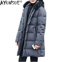 AYUNSUE зимняя куртка пальто с воротником из натурального Лисьего меха 90% куртка мужская длинная парка Winterjas Heren YS6108620 MY794