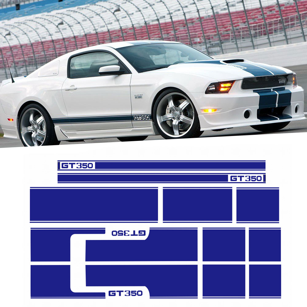 Set for Ford Mustang GT350 SHELBY Side Door Stripes Front Rear Bumper Hood Roof Trunk Graphic Decal stickers, 4 colors машина мет пламенный мотор 1 43 ford mustang gt откр двери цвета в ассорт