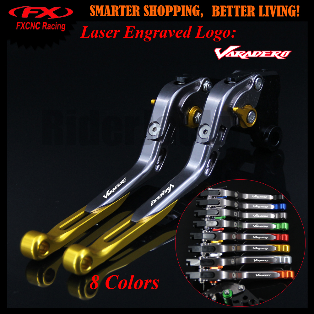 Logo Golden+Titanium CNC Motorcycle Adjustable Brake Clutch Lever For Honda XL1000 Varadero/ABS 1999-2013 2009 2010 2011 2012