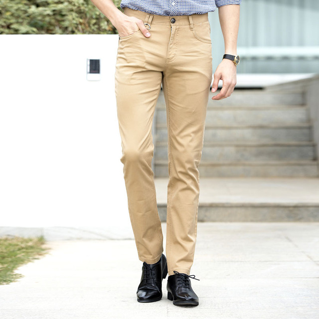 6f1840e1c6c3 2018 Summer Fashion Khaki Pants Men Smart Casual Slim Fit Suit Trousers  Male Chinos Long Dress Pants