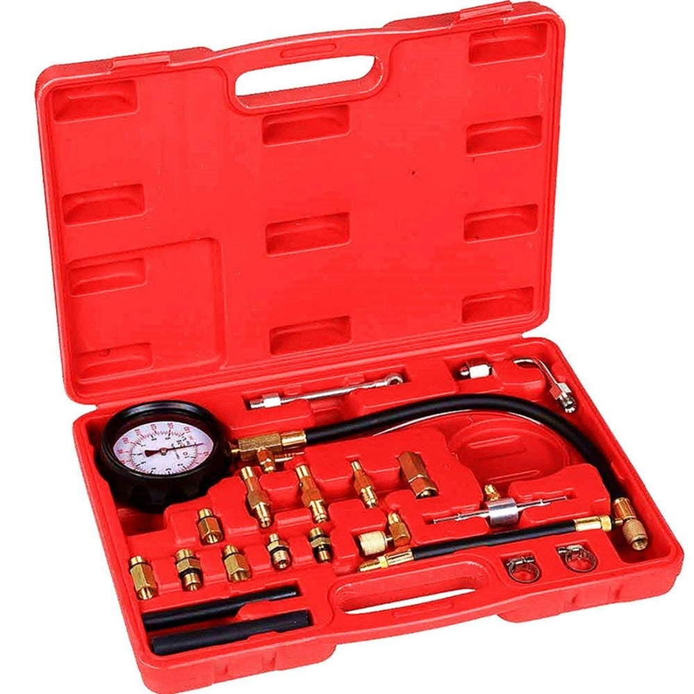 Auto Fuel Injection Pump Pressure(0-140PSI) Gauge Automotive Engine Injector Test Gasoline Tester Tool Kit for Cars Trucks VehicAuto Fuel Injection Pump Pressure(0-140PSI) Gauge Automotive Engine Injector Test Gasoline Tester Tool Kit for Cars Trucks Vehic