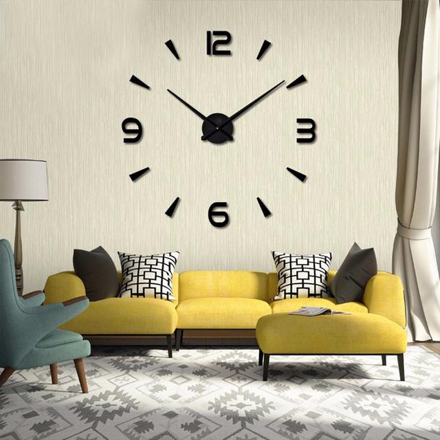 2017 New High Quality 3D Wall Stickers Creative Fashion Living Room Clocks Large Wall Clock DIY Home Decoration Acrylic + EVA