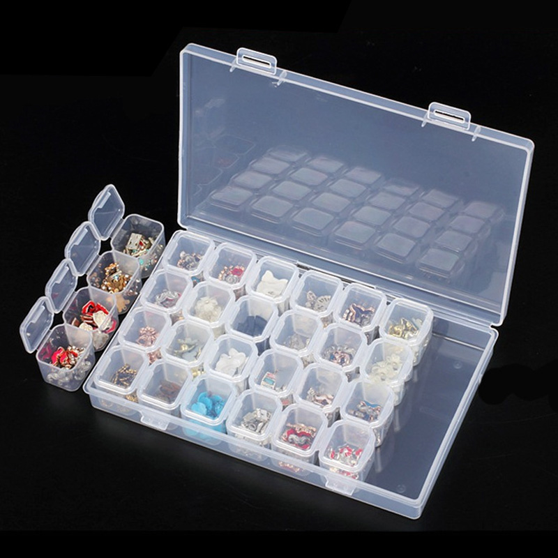 28 Grids Diamond Painting Box Storage Clear Plastic Diamondpainting Storage Boxen Dismountable Storage Case Container Organizer