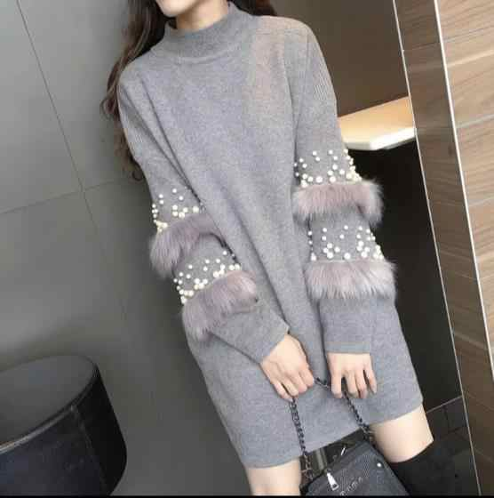 Winter Faux Fur Embellished Sleeve Sweater Dress Jumpers with pearls Turtleneck Pull  Pullovers Jersey Mujer Invierno ZFN281