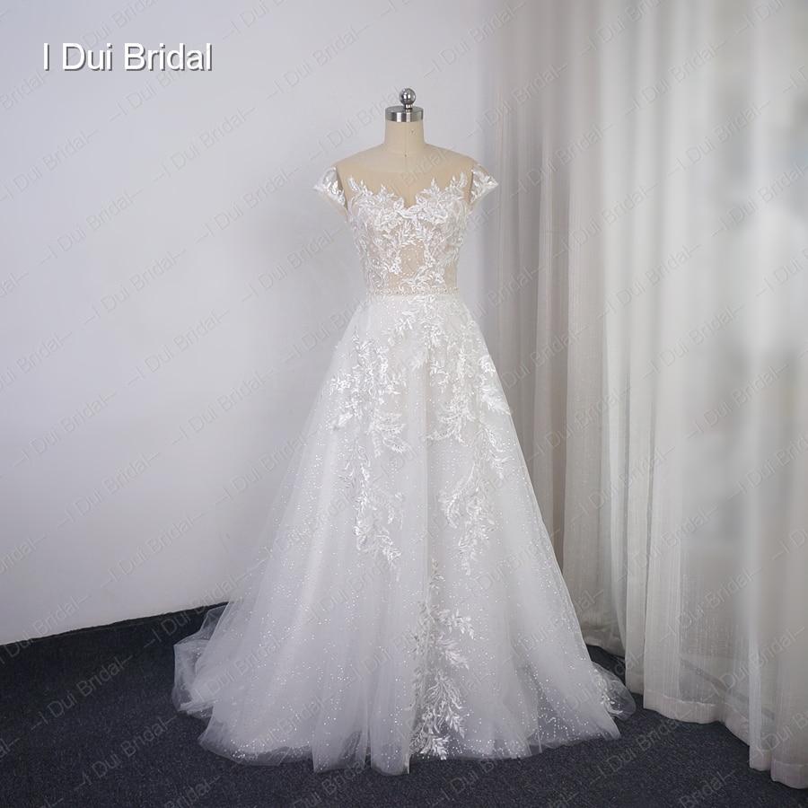Cap Sleeve Wedding Dress Illusion Neckline Sequin Layer Lace Appliqued Bridal Gown