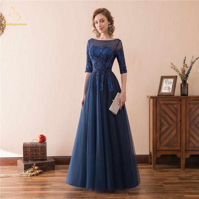 8d2a354b847 Bealegantom 2019 New Sexy Half Sleeves Long Prom Dresses Lace Up Beaded  Plus Size Formal Evening Party Gown QA1587