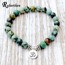Ruberthen New Design Genuine African Tur Stone Bracelet Wrist Mala Beads Chakra Bracelet Yogi Gift Buddhist Healing Bracelet