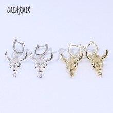 5 Par brincos brincos gancho de metal banhado a ouro da cabeça do touro gado gado charme jóias por atacado brincos de jóias por atacado 3896