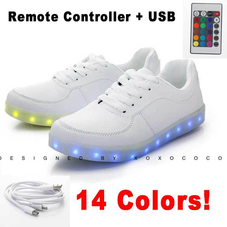 New Light Up Sneakers For Adults Man Women  A Shoes For Sale 12 + 2 Led  Colour Remote Controller Chaussure Basket Femme 5-in Fitness    Cross-training Shoes ... abd8fd71d2