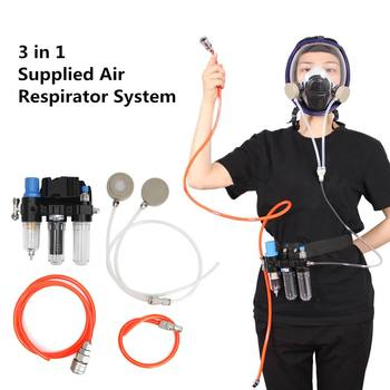3 In 1 Gas Mask Chemcial Function Supplied Air Fed Safety Respirator System For Spraying Respirator Gas Full Face dust Mask chemcial function supplied air fed safety respirator system with 6800 full face industry gas mask respirator
