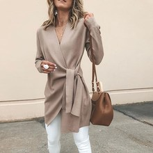 Woolen Blend Solid Outwear Women V Neck Lace up Thin Coats 2018 Autumn Casual Female Overcoats