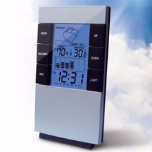 NEW Indoor Hygrometer Weather Forecast Clocks Max/Min Temp Humidity Record Chime Free shipping-Y102