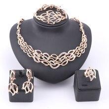 Women Fashion Luxury Rhinestone Bridal Necklace Earring Bangle Ring African Dubai Costume Gold Color Jewelry Sets